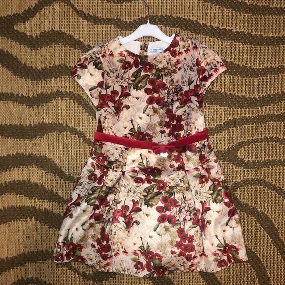 Mayoral Other - Girls Floral Velvet Dress